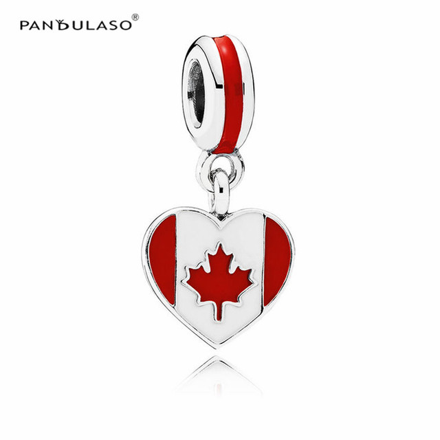 Pandulaso Sterling-Silver-Jewelry Canada Heart Flag Beads For Charms Silver 925 Original DIY Bracelets for Women Jewelry Making