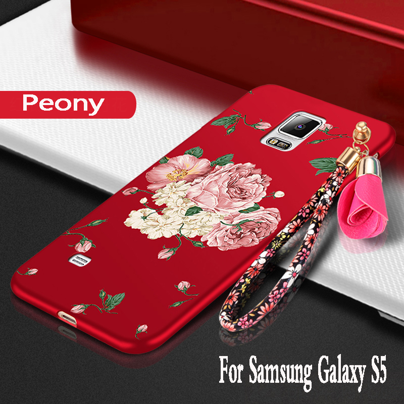 For samsung galaxy S5 Case silicon 3D Flowers luxury protector mobile phone bag For samsung galaxy s5 i9600 g900f Cover TPU Soft