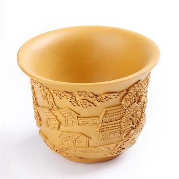 Zisha Double insulated cup handmade tea cup gold ore Zhu Zhu Xi Shi teapot Kung Fu tea set