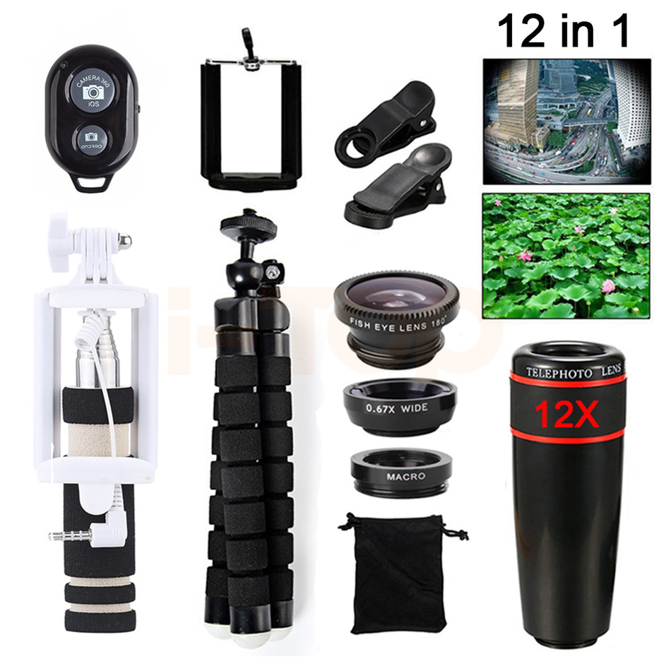 New Mobile lens Kit 12X Telephoto Zoom Lenses Telescope For Samsung S5 S6 S7 S7 S8 edge Tripod Wide Angle Macro Fisheye Lentes