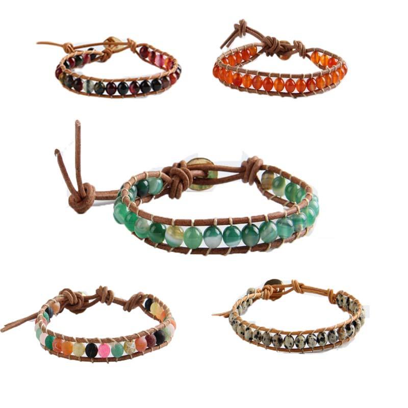 Multicolor 6mm Beaded Strand Bracelet Leather Wrapped Bracelet Men/Woman Single Hand Jewelry