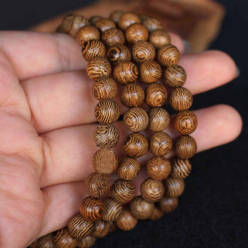 多層ウェンジ数珠チベット仏教マラ仏ブレスレットロザリオ木製女性と男性