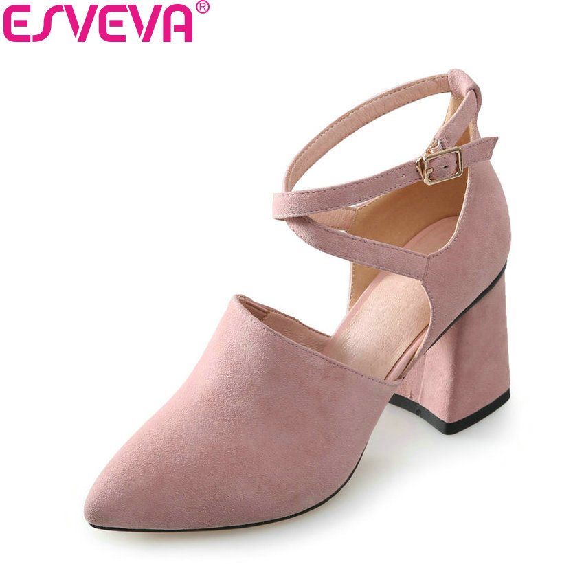 ESVEVA 2018 Women Pumps Buckle Strap Black Pointed Toe Kid Suede PU Square High Heels Fashion Elegant Ladies Shoes Size 34-39 pu pointed toe flats with eyelet strap