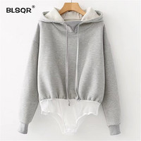 BLSQR 2017 Autumn Winter Bodysuit Women Long Sleeve Hooded Sweatshirt Hoodie Casual Bodysuit Ladies Bodysuits Tops
