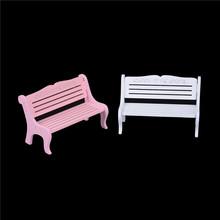 1PCS White Pink Garden Miniatures Micro Landscape Accessories Mini Bench Fairy Doll Chairs Terrarium Moss Decor Figurines cheap PlumHOME Pastoral Wood
