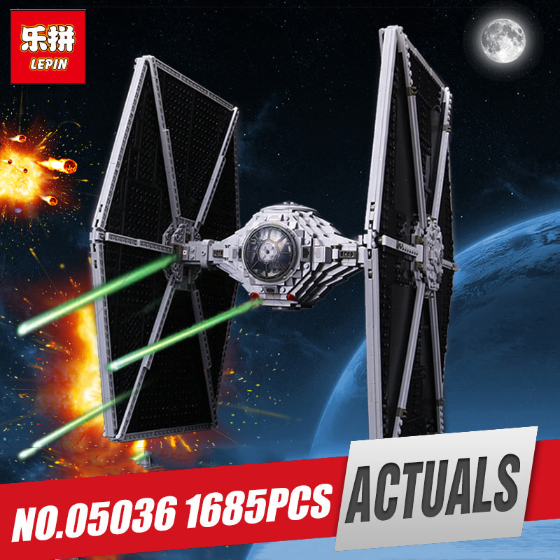 Lepin 05036 Star Series Tie Wars Fighter Building Educational Blocks Bricks Toy Compatible with legoing 75095 Christmas gifts цена