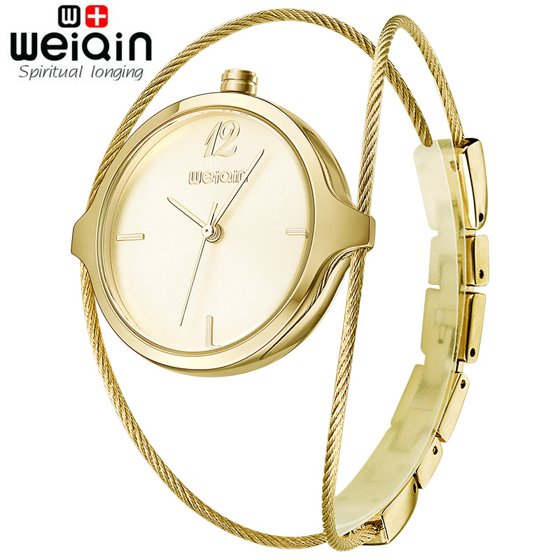 WEIQIN Gold Women Watches Luxury High Quality Water Resistant Montre Femme Steel Wire Watch Band 2017 Dress Woman Wrist Watches mce luxury fashion gold watch women high quality skeleton mechanical watch full stainless steel water resistant wrist watches