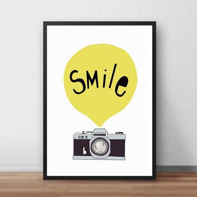 Modern Nordic Typography Print Positive Life Quotes Happy Smile Art