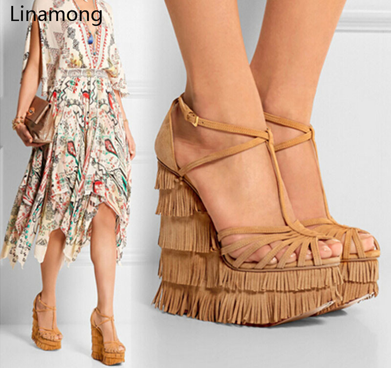 New Fashion Cut-outs Cross Strap Tassels Wedge Sandals High Platform Height Increasing Woman Sandal Shoes