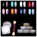 Nuevo 2 g/caja Polvo Del Brillo Del Clavo de DIY Del Arte Del Clavo Lentejuelas Brillo Espejo Cromo Pigmento Decoraciones 6 Colores Opcionales