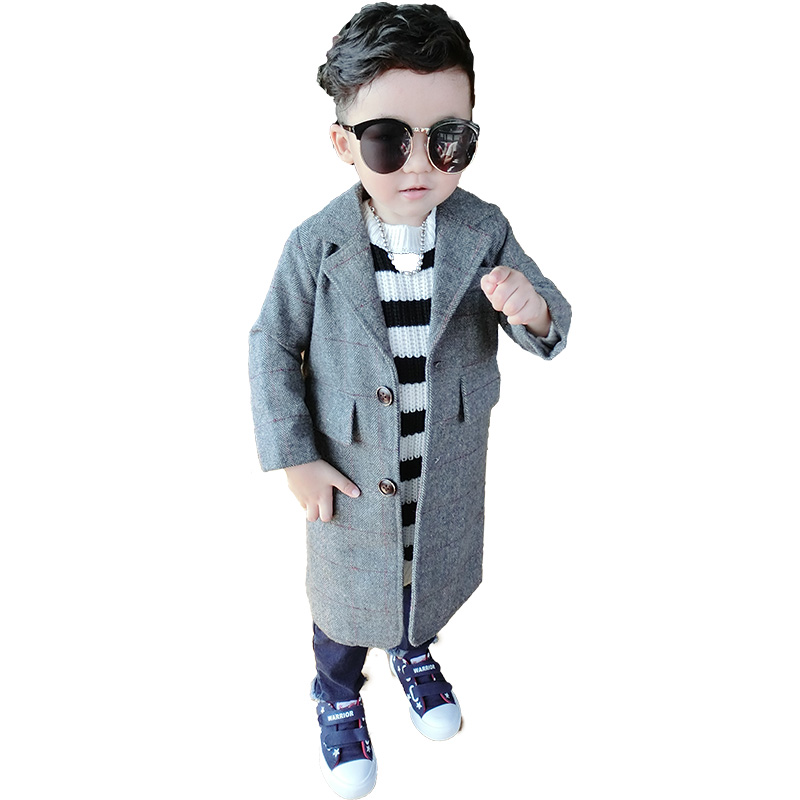 Autumn 2018 children's clothing single-breasted kids suit girl wool coat plaid long boy woolen coat gentleman boy jacket outwear brand children coat jackets stripe cute rabbit ears hooded wool coats for girl kids double breasted woolen jacket infant outwear