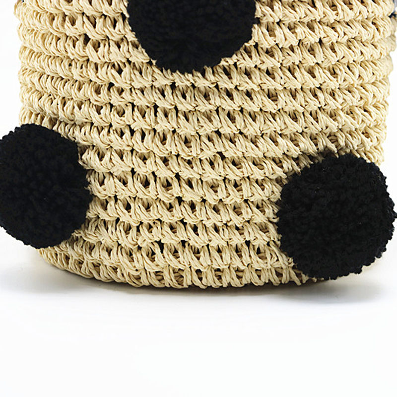 New Women 39 s Handbag For Women Cute Hair Ball Cherry Handmade Straw Bags Summer Vacation Beach Bag Drawstring Basket Handbags in Shoulder Bags from Luggage amp Bags