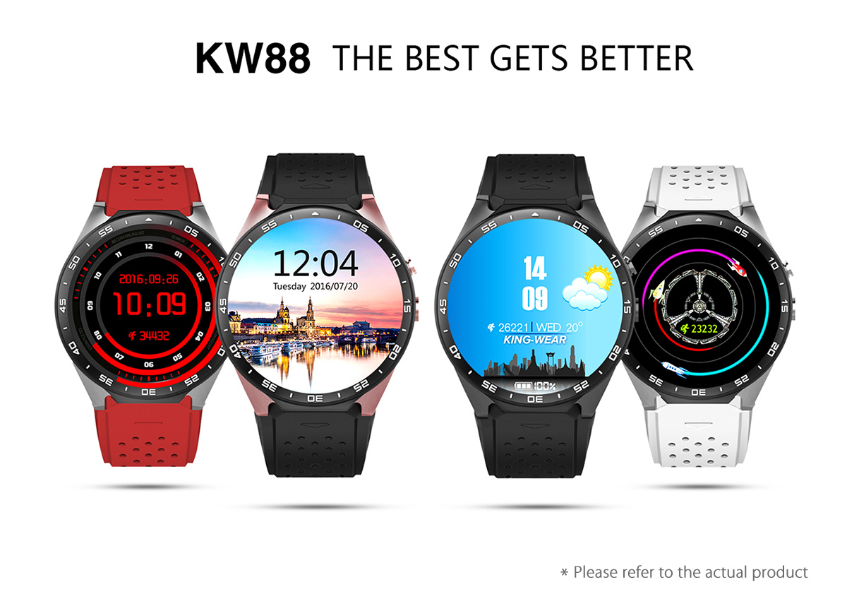original KW88 Android 5.1 1.39'' Screen 3G Smartwatch Phone MTK6580 Quad Core 512MB 4GB GPS Pedometer Smart Watch Men PK KW99 цена