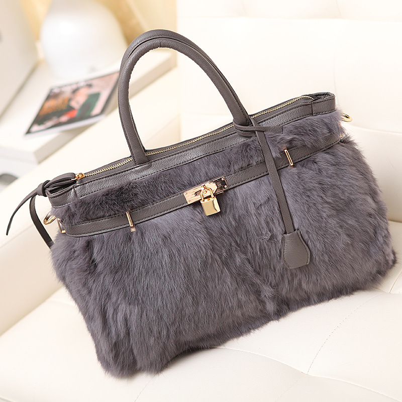New winter luxury famous brand lock leather handbags woman real fur bags for ladies large tote bag big bags for women chains bag ellacey women bucket bags fox fur genuine leather handbags fur women bag socialite basket real leather small christmas tote bag