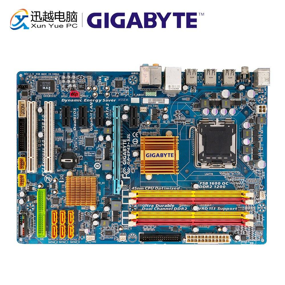 Gigabyte GA-EP43-S3L Desktop Motherboard EP43-S3L P43 LGA 775 For Core 2 DDR2 16G SATA2 USB2.0 ATX Original Used Mainboard