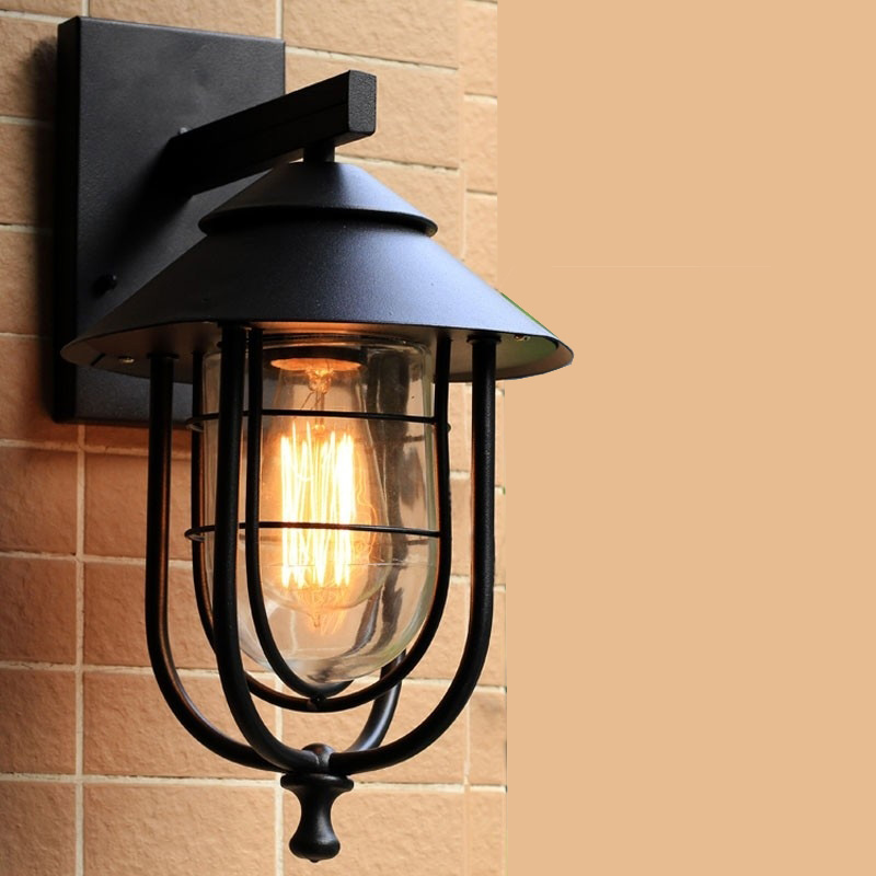 1 pcs Outdoor Wrought Iron wall lamp for Garden Balcony Waterproof outdoor Wall Light glass lamp shade path lamp Bar Cafe lights industrial vintage loft outdoor light villa balcony garden waterproof wall lamp for cafe bar coffee shop