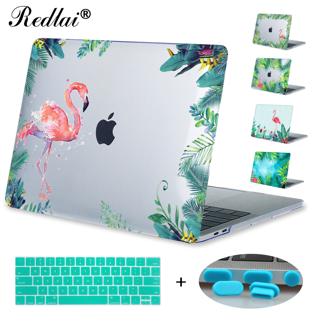 Redlai Plastic Print Hard Case Cover For Macbook New 12 Pro 13 15 Touch bar A1706 Air 13 Pro Retina 13 15 Flamingos Laptop Case for macbook new pro 13 15 touch bar laptop case for mac book air pro retina 12 13 15 creative lamp blackboard print hard cover