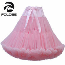FOLOBE Pink Dancewear Party Prom Skirts High Waisted Ball Gown Tulle Tutu Skirt Knee Length Adult tutu Faldas Saias Femininas