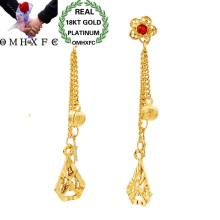 OMHXFC Wholesale European Fashion Woman Girl Party Wedding Gift Flower Tassel Red AAA Zircon 18KT Gold Stud Earrings ER76(China)