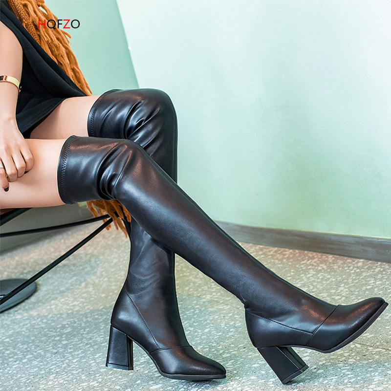 HQFZO High Quality Leather Women Boots Over the Knee Boots Platform Sexy Female Autumn Winter Block Heels Boots Shoes Woman HQFZO High Quality Leather Women Boots Over the Knee Boots Platform Sexy Female Autumn Winter Block Heels Boots Shoes Woman