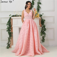 Romantic Pink Lace Evening Dresses 2019 Beach Serene Hill