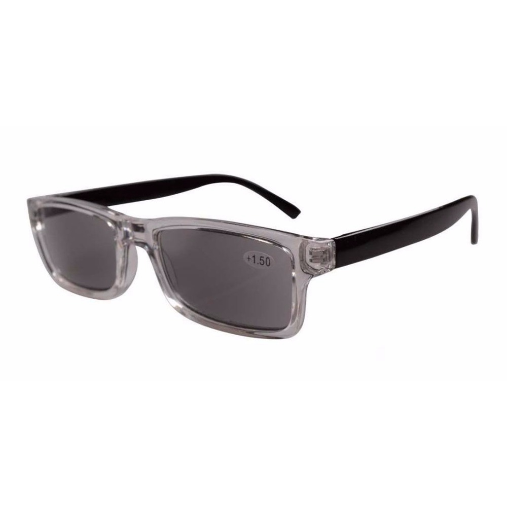 FR003 Clear Plastic Frame Black Arms Grey Tinted Readers Reading ...