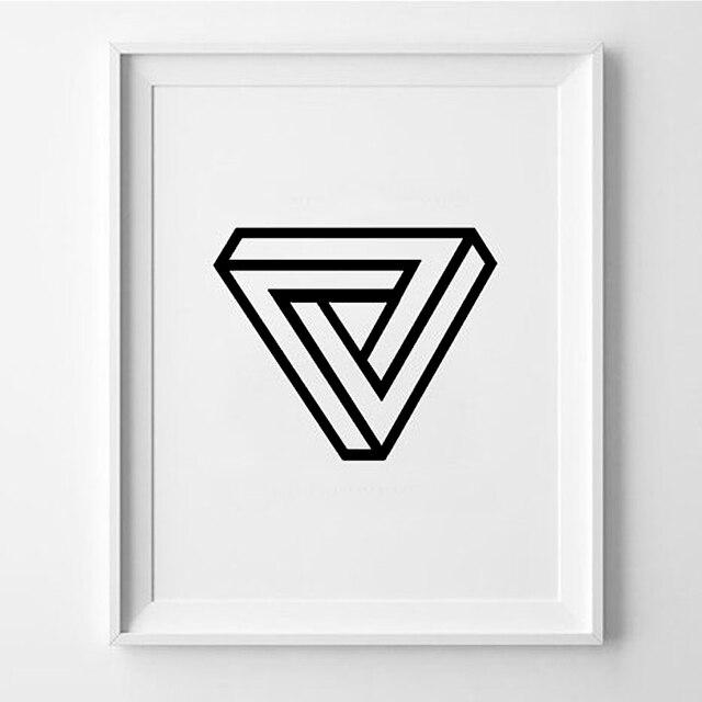 Blanco y Negro cita cartel 3D triángulo Nursery Home Decor pintura ...