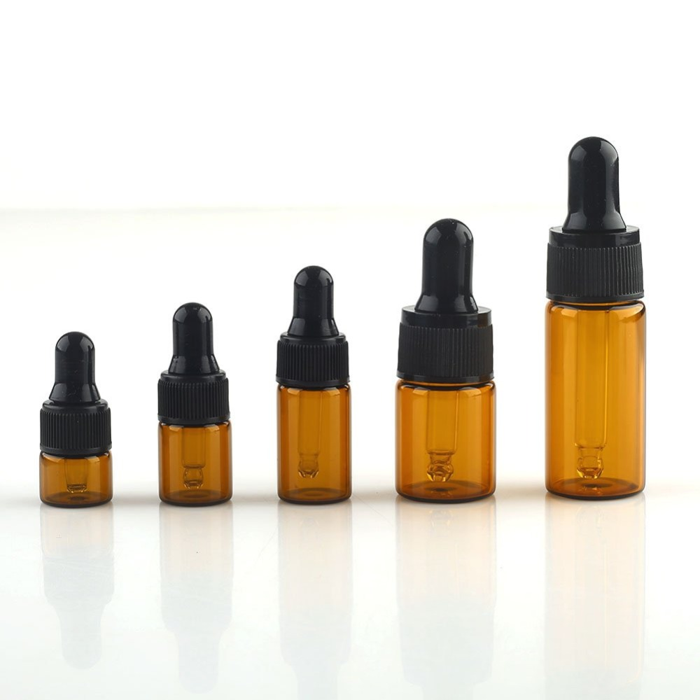 10Pcs 1ml / 2ml / 3ml / 5ml / 10ml Empty Amber Glass Dropper Bottles Pipette W/cover for Essential Oil недорго, оригинальная цена