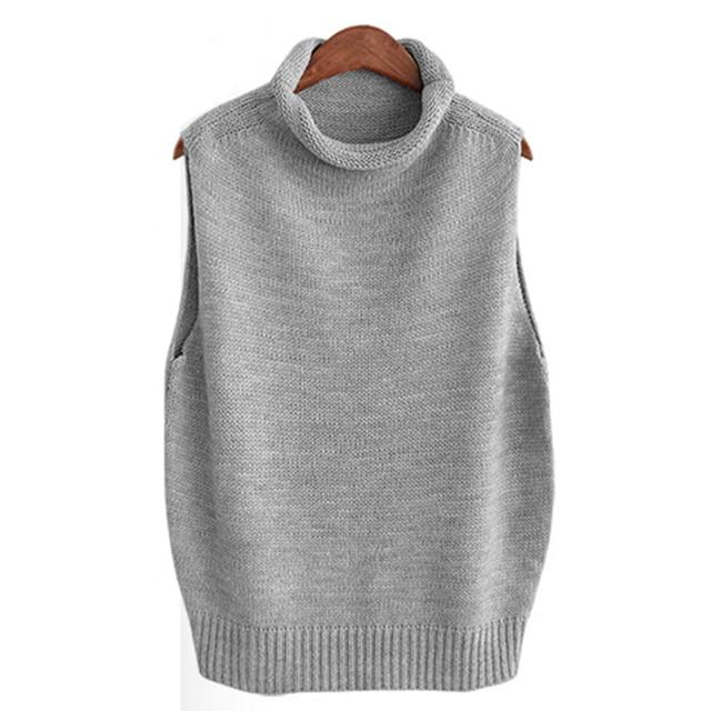 QIUSIDUN Autumn Wool Blend Knitted Vest Women Sleeveless Pullover ...