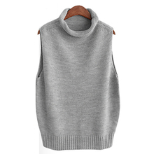 QIUSIDUN Autumn Wool Blend Knitted Vest Women Sleeveless Pullover Sweater Turtleneck Jumper 2017 Ladies Casual Elegant Waistcoat