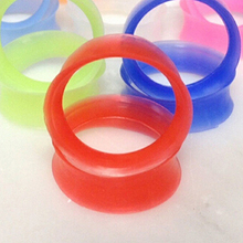 2 Pcs Soft Silicone Ear Flesh Tunnels Plug Stretcher Piercing Gauge Earrings(China)