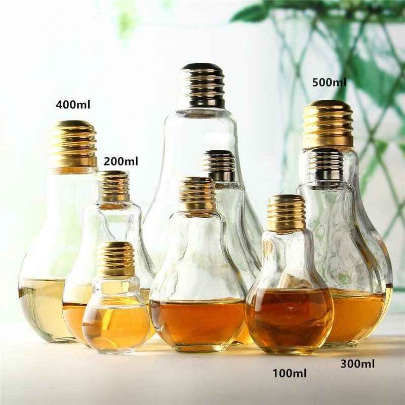 Kitchen Light Bulb Glass Beverage Milky Tea Fruit Juice Drink Bottle  Terrarium For Home Shop With Milk Lamp Bottle Brief