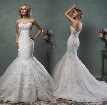 Robe de mariage 2016 Elegant Strapless Mermaid Wedding dresses Plus Size Sleeveless Lace Backless Bridal Gown Vestidos de novia