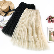 Women Long Tulle Skirt High Waist Elascity Maxi Pleated 2019 Spring Sweet Pink Party Fashion Lace A-line skirt Femal