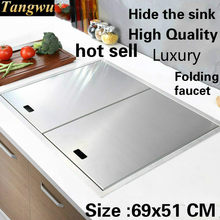 Free shipping Apartment high quality kitchen manual sink single trough hide food grade 304 stainless steel hot sell 690x510 MM(China)