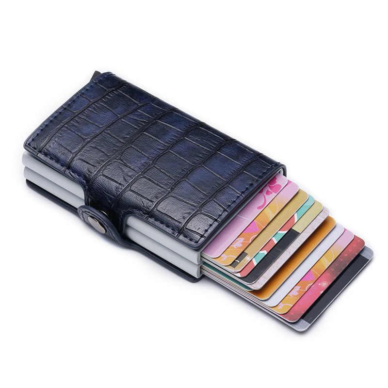 DIENQI Banco titular de la tarjeta de crédito Rfid bloqueo inteligente cartera portatarjetas tarjeta caso protector para bolsillo de Metal de aluminio cartera bolsos