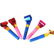 10 pcs/set Funny Whistles Noisemaker Colorful Practical Jokes Kids Blowing Dragon Blowout Baby Birthday Supplies Toys gift(China)