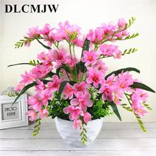 Jedwabna orchidea sztuczne kwiaty DIY sztuczna orchidea sztuczne kwiaty bukiet ślubny dekoracja wnętrz sztuczne kwiaty rośliny tanie tanio DLCMJW CN (pochodzenie) C-183 HYBRID Kwiat + wazon Kwiat Bonsai Ślub Jedwabiu