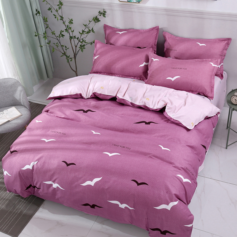 Purple Solid Color Black And White Bird Pattern Bedding ... - photo#48