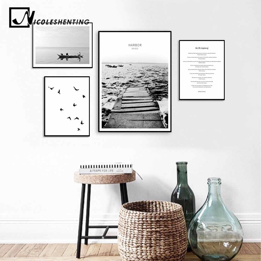 Scandinavian Sea Bridge Canvas Poster Motivational Minimalist Nordic Style Wall Art Print Painting Decoration Picture Home Decor