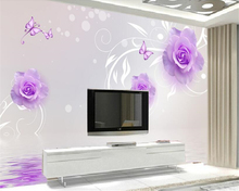beibehang Customizable interior decoration wall paper purple rose reflection TV background walls papel de parede 3d wallpaper