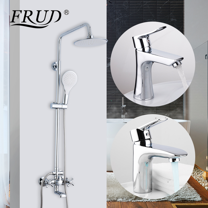 FRUD Shower Faucets Bath Tub Mixer Bathroom Set Waterfall Faucet Bath Tub Taps Wall Mount Shower System with Sink Tap Faucet(China)