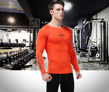Men Gym Long Sleeve Shirt Compression elastic Quick Dry Tops High-Quality Fitness Exercise Basketball training Sportswear
