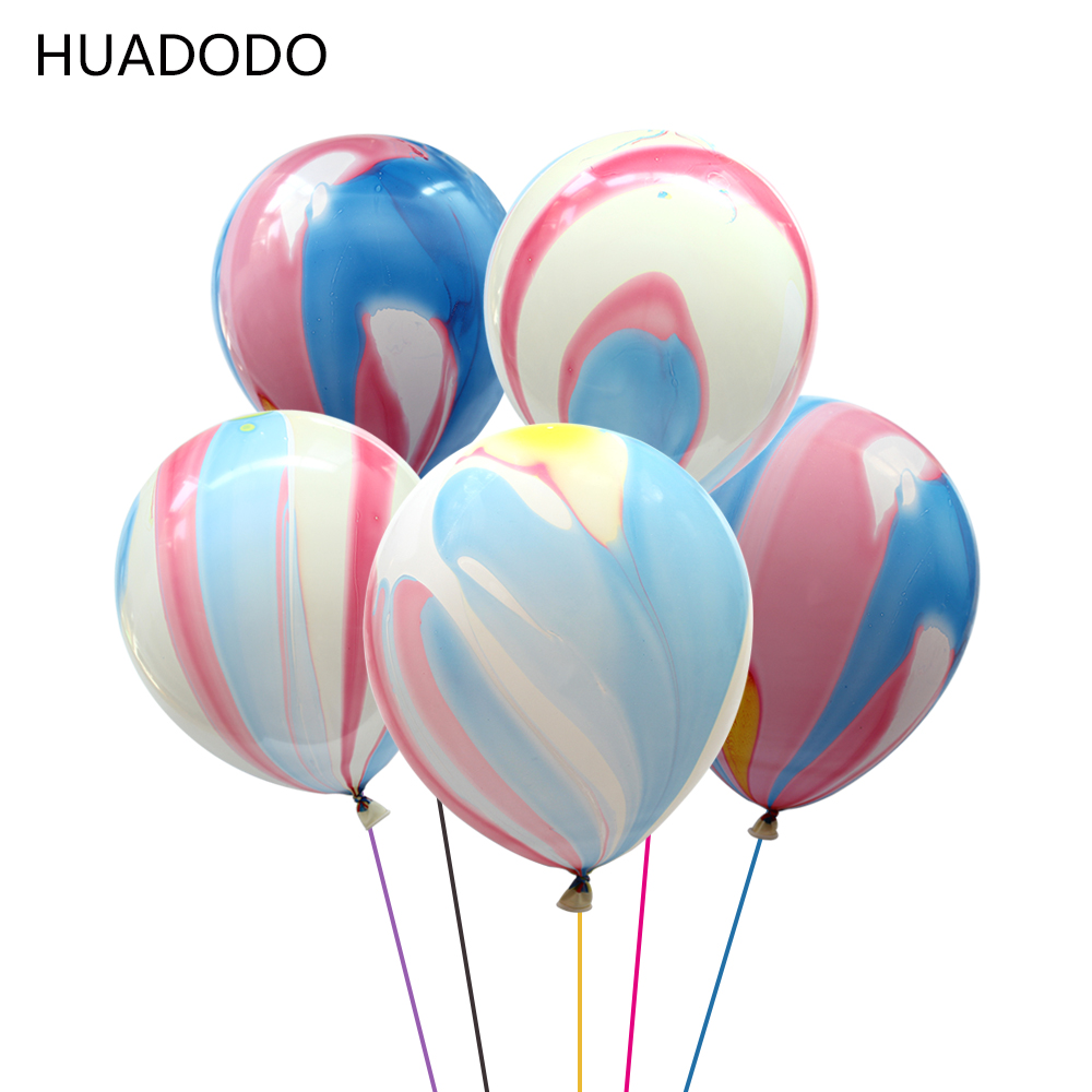HUADODO 12inch 10Pcs Marble Latex Balloon Inflatable toys for Baby shower Birthday Party Wedding Decoration Air Balloons