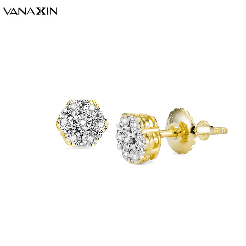 VANAXIN Women Stud Earrings 925 Sterling Silver AAAAA Natural Stone Jewelry White Rose Gold Color Earring Wedding Gift Brincos
