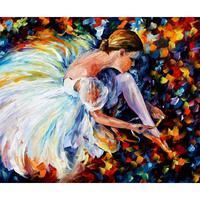 Women dancer oil painting pictures ballerina palette knife canvas wall art modern home decor