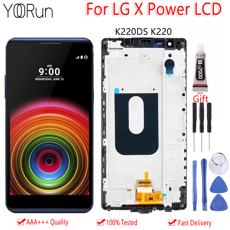 Frame Lcd-Display Touch-Screen Lg-X-Power K220DS Digitizer-Assembly-Replacement-Parts title=