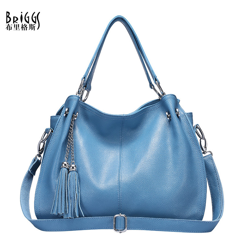 BRIGGS Brand Fashion Tassel Handbag Women Genuine Leather Bag Female Hobos Shoulder Bags For Women High Quality Messenger Bag купить недорого в Москве