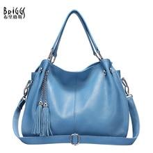 BRIGGS Brand Fashion Tassel Handbag Women Genuine Leather Bag Female Hobos Shoulder Bags High Quality Tote