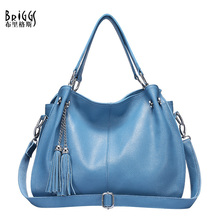 BRIGGS Brand Fashion Tassel Handbag Women Genuine Leather Bag Female Hobos Shoulder Bags High Quality Leather Tote Bag цена 2017